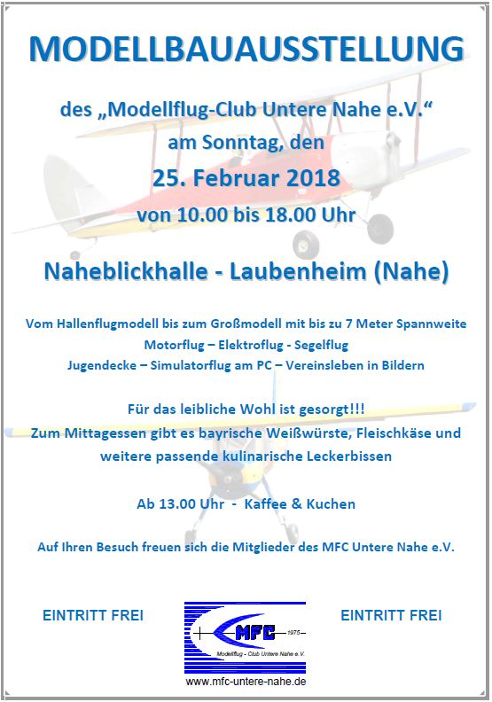 Modellbauausstellung des MFC Untere Nahe e.V.